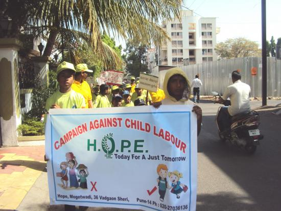 HOPE children's campaign against child labor on the 30th April at Vadgaonsheri, Pune.